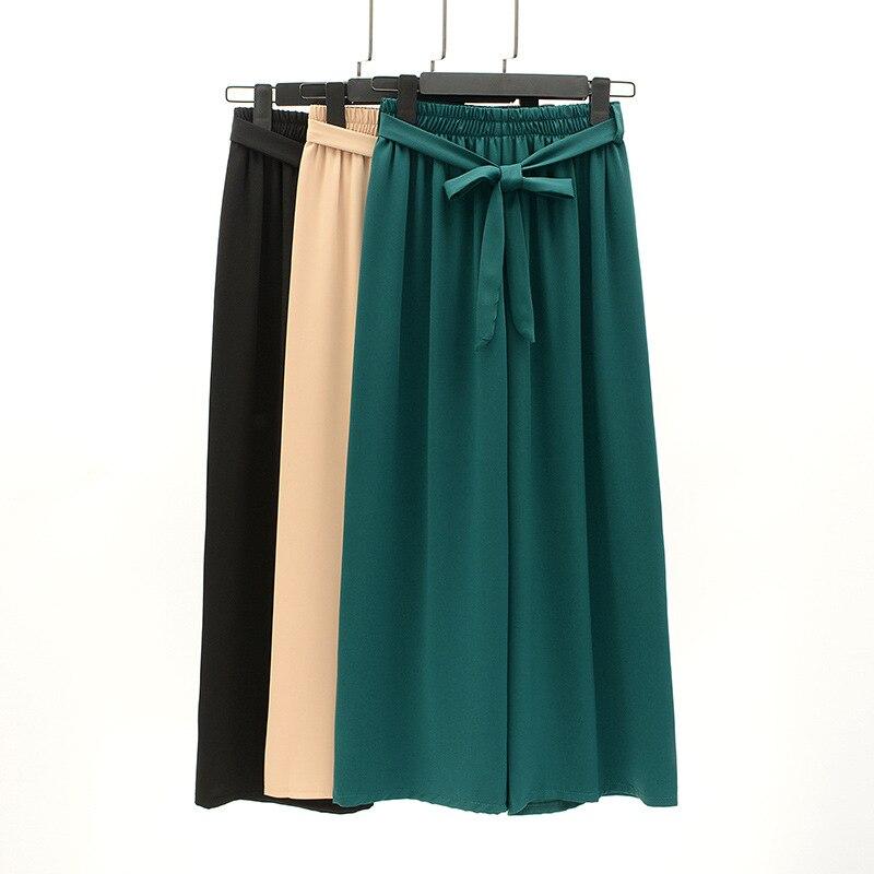 Drape Chiffon Loose   Pants   Women's Summer New Style High-waisted Loose Straight   Capri     Pants   Gentle Wind Thin Casual   Pants