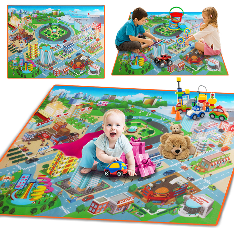 Eva Foam Baby Crawling Play Mats City Traffic Map Soft Floor Carpet For Baby Kids Toy Game Waterproof Rug Foldable Playmat
