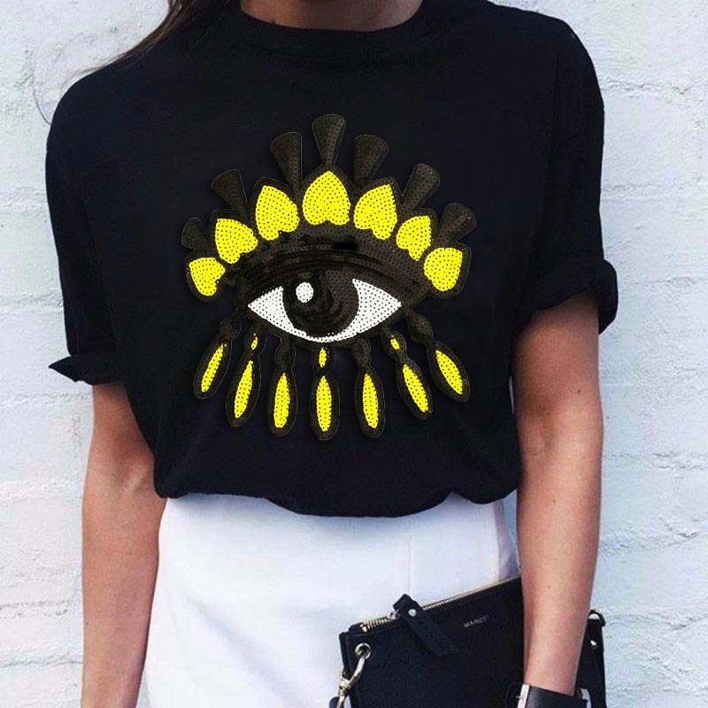 2019 New Brand Spring Summer Fashion Loose Rad Lips EYE Cat Sexy Tee Shirt Embroidered Sequins T-shirt Girl Tee Leisure Top Code