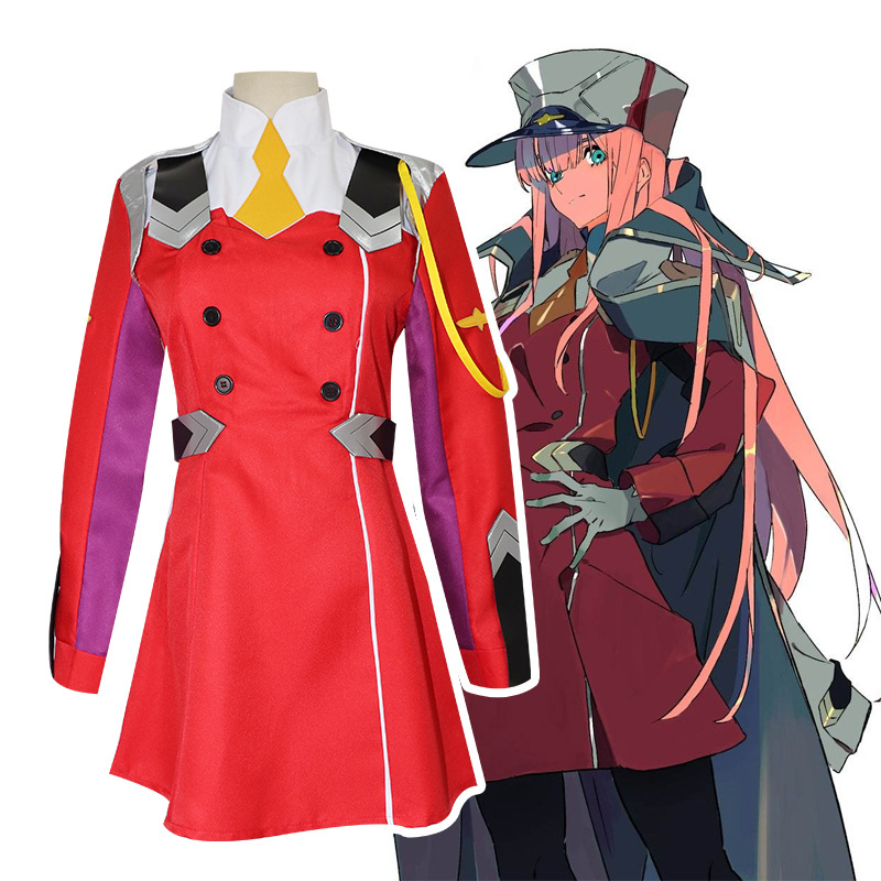 DARLING in the FRANXX Zero Two Cosplay Women Costume Full Sets Wig hair pink long straight hair Zero Two Dresses Cosplay