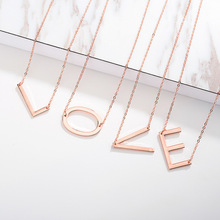 26 A-Z Letter Name Initial Necklaces For Women Gold Rose Silver Color Chain Fashion Long Big Pendant Necklace
