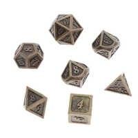 Juego de 7 unidades de dados poliédricos de Metal macizo de cobre antiguo, juego de dados D4 D6 D8 D10 D10 D12 y D20 para juegos de RPG DND MTG