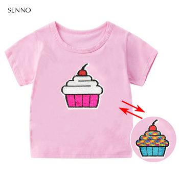 Wymienne cekiny letnie dzieci dziewczęce koszulki 2019 dziecięce bawełniane koszulki z krótkim rękawem Casual koszulki dla dziewczynek koszulki studenckie tanie i dobre opinie NoEnName_Null COTTON POLIESTER CN (pochodzenie) Lato 25-36m 4-6y 7-12y Dziewczyny moda Zwierząt REGULAR Z okrągłym kołnierzykiem