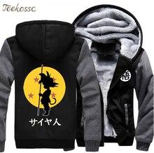 Anime Dragon Ball Z Hoodie Men Winter Thick Warm Fleece Hooded Harajuku Japan Cartoon Streetwear Sweatshirt