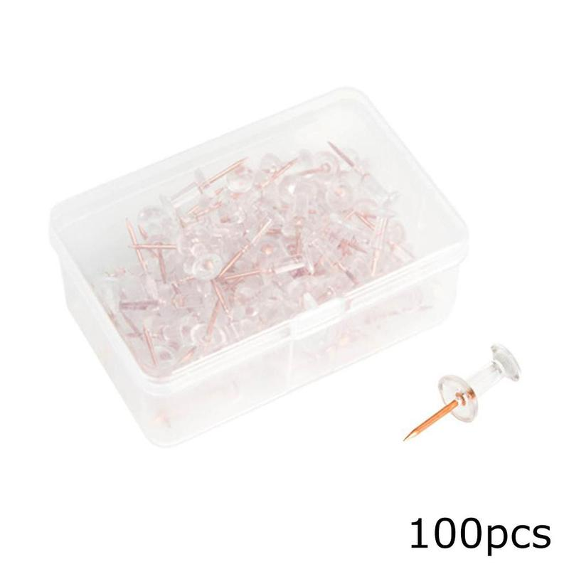 100 Pcs Transparent Push Pins Thumbtacks Rose Gold Cute Thumbtack Decorative Steel Point Bulletin Board Office School Supplies