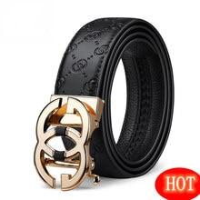 Cintura in pelle con fibbia automatica da uomo di nuovo successo cintura di tendenza moda cintura da uomo con bottoni in metallo doppio g di alta qualità