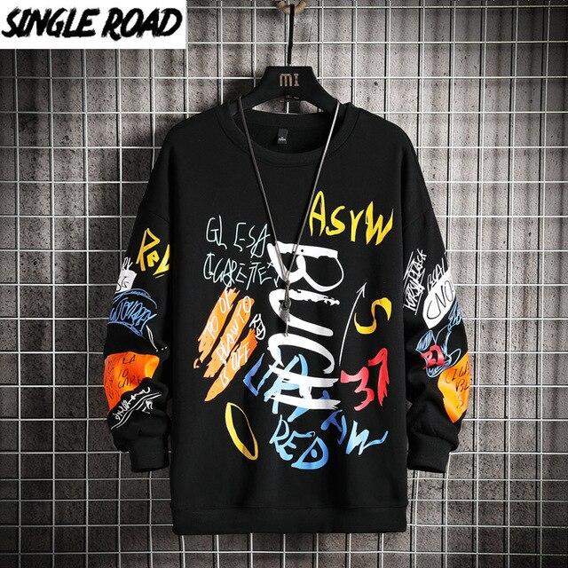 SingleRoad-Sudadera de cuello torcido para hombre, ropa informal japonesa de gran tamaño, Hip-Hop, Sudadera con capucha para hombres, color negro, Harajuku, 2021 1
