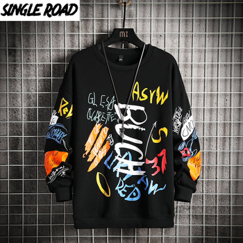SingleRoad Mens Crewneck Sweatshirt Men 2021 Harajuku Oversized Japanese Streetwear Hip Hop Black Hoodie Men Sweatshirts Hoodies naruto hoodie men japanese streetwear mens hoodies hip hop hoody sweatshirt men hoodies sweatshirts 2019 autumn cartoon hoodies