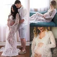 Летнее кружевное платье для беременных женщин с разрезом спереди