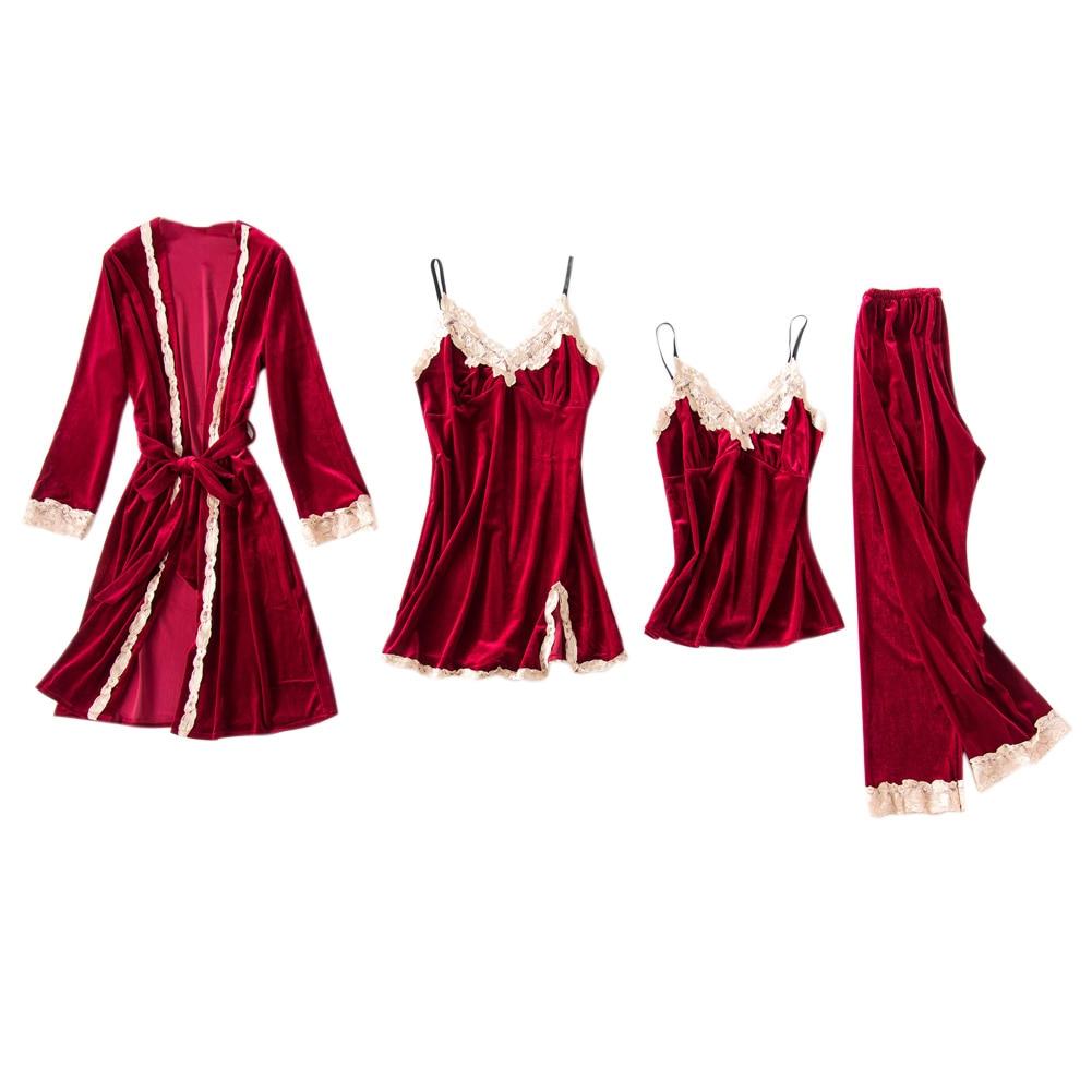 4Pcs/Set Women Pajama Set Elegant Velvet Robe Tops Pants Sleepwear GDD99