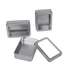 3 Pack of Silver Metal Box Rectangle Storage Tin Container S