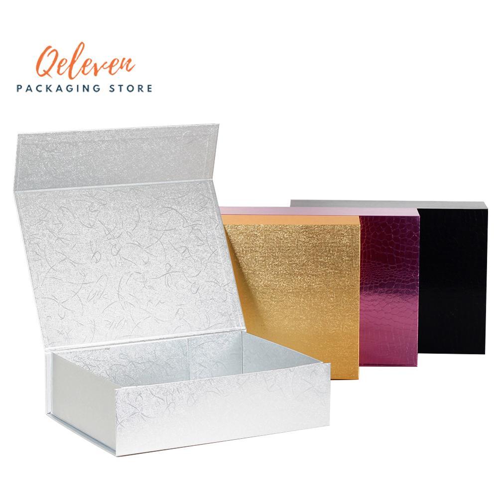 Wholesale 2pcs/Lot Custom Paperboard Folding Rigid Box Magnetic Closure Hot Stamping Foil Logo Packaging Clothing Hair Wigs