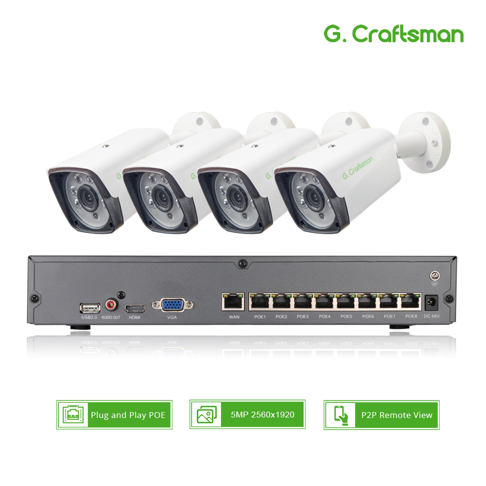 4ch 5MP POE Kit H.265 System CCTV Security Up To 8ch NVR Outdoor Waterproof IP Camera Surveillance Alarm Video P2P G.Craftsman