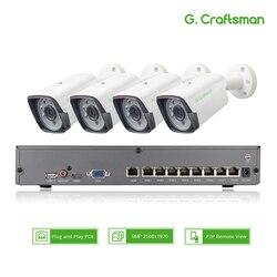 4ch 5MP POE Kit H.265 sistema de seguridad CCTV hasta 8ch NVR al aire libre impermeable IP cámara de vigilancia de alarma de vídeo P2P G.Craftsman
