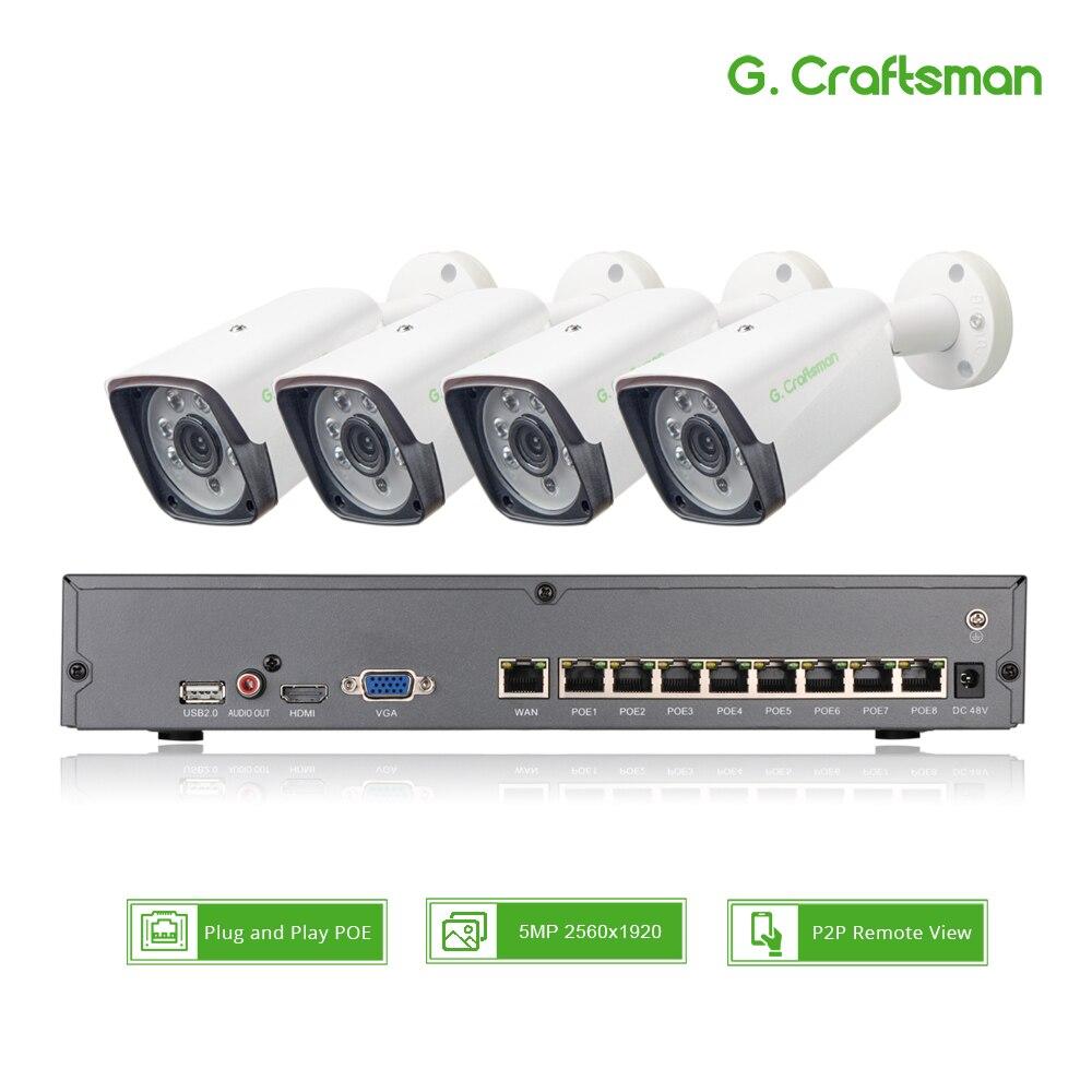 4ch 5MP POE Kit H.265 système CCTV sécurité jusqu'à 8ch NVR extérieur étanche IP caméra Surveillance alarme vidéo P2P G. Artisan