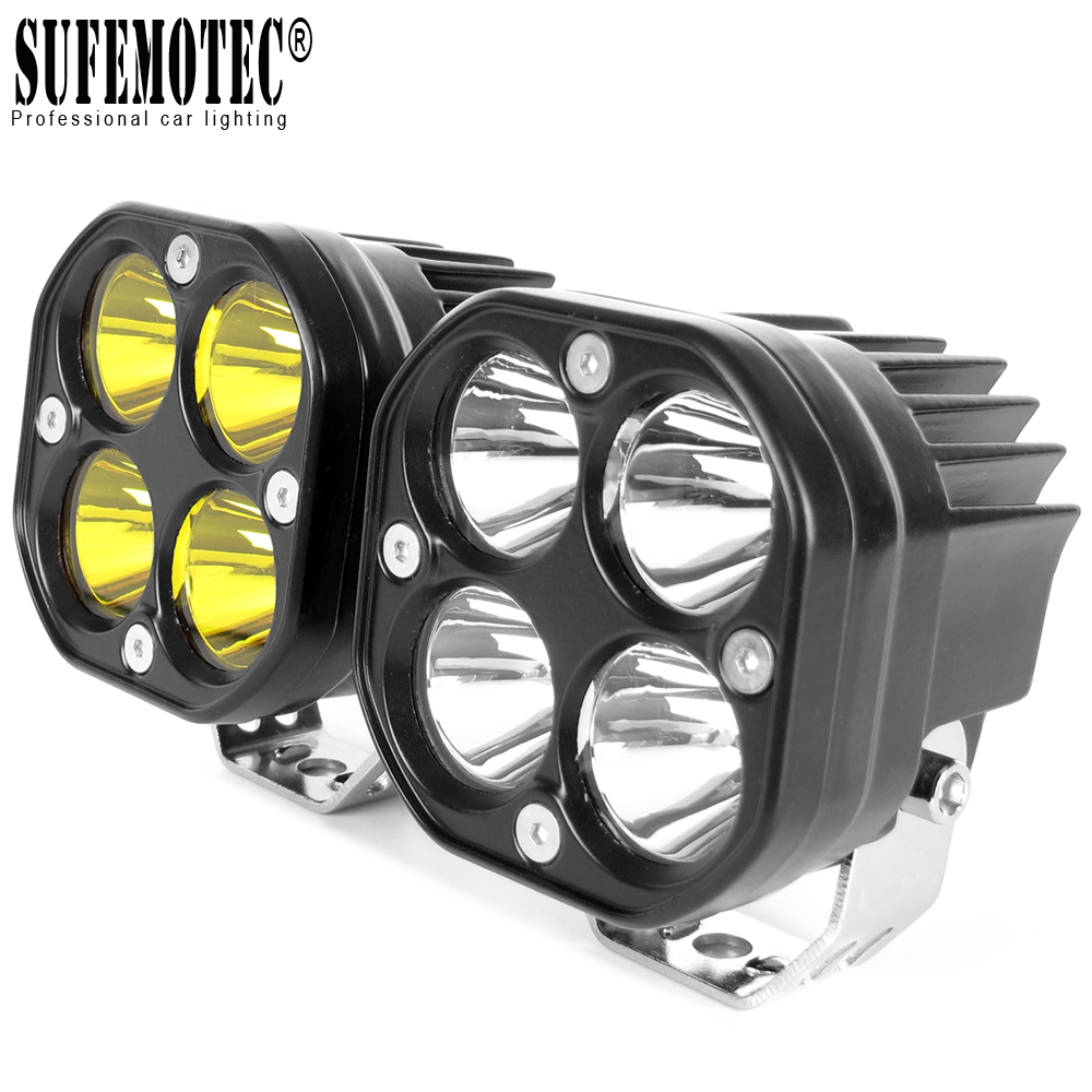 2Pcs Square Led Work Light 12V 24V For Car Spotlights Off Road Boat ATV 4WD Tractor Truck 4x4 SUV Driving Lights Yellow Fog Lamp