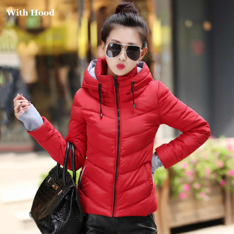 2019 Hooded Women Winter Jacket Short Cotton Padded Womens Coat Autumn Casaco Feminino Inverno Solid Color Parka Stand Collar on AliExpress