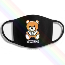MOSCHINO-MILANO Bear Mouth Mask Logo Classic Printing Washable Breathable Reusable Cotton Men