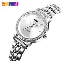 SKMEI 1311 Mode Frauen Diamant Skala Quarzuhr Edelstahl Weibliche Top Marke Luxus Damen Hand Armbanduhren