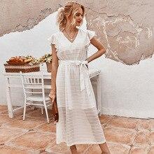 Elegant Dress Ruffles Black White High-Waist Ladies Vintage Summer V-Neck Mid-Calf Solid