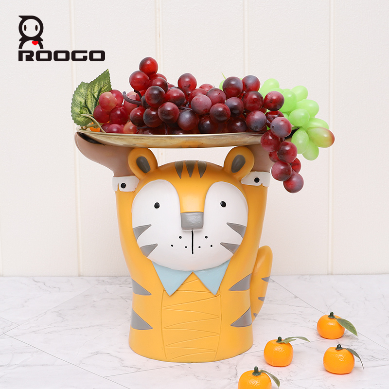 Roogo Cute Animal Shaped Fruit Tray Ornaments For Home Living Room Decor Piggy Bank Home Decoration Accessories Resin Figurines For Kids Bedroom Decor Creative Birthday Gift To Children