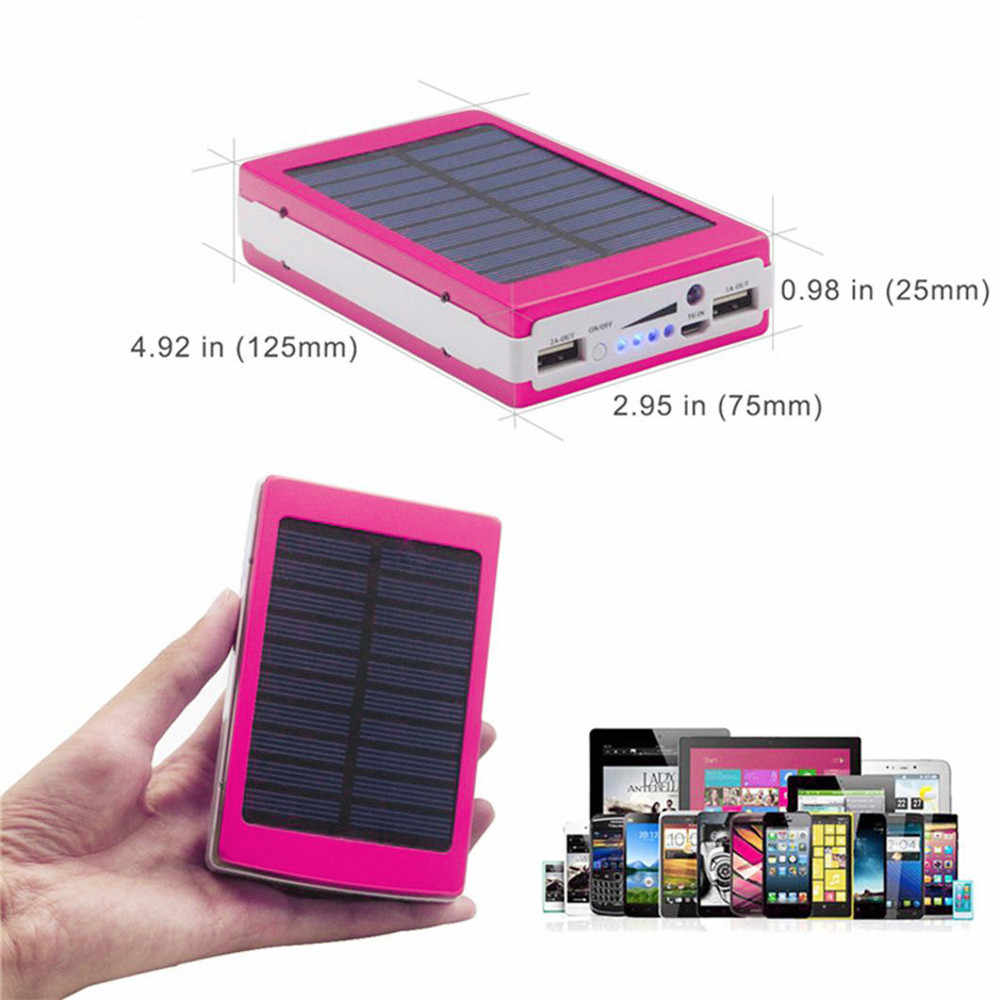 5V 2A Solar LED Draagbare Dual USB Power Bank 2018 Nieuwe Stijl OUTDOOR Batterij Lader DIY Box 125 * 75*25mm