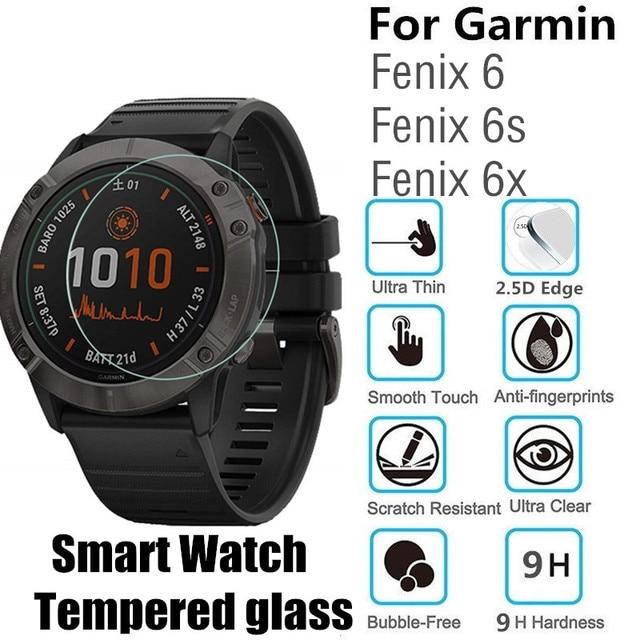 100 adet için temperli cam Garmin Fenix 6X 6S yuvarlak akıllı saat Fenix 6 koruyucu film D35.5mm D40.5mm D37mm ekran koruyucu
