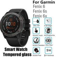 100 pces vidro temperado para garmin fenix 6x 6 s redondo relógio inteligente fenix 6 película protetora d35.5mm d40.5mm d37mm protetor de tela