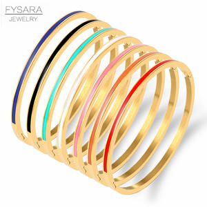 FYSARA 3mm Thin Colorful Orange Enamel Bangles Bracelets for Women Party Fashion Bangles 361L Stainless Steel Jewelry 7 Color