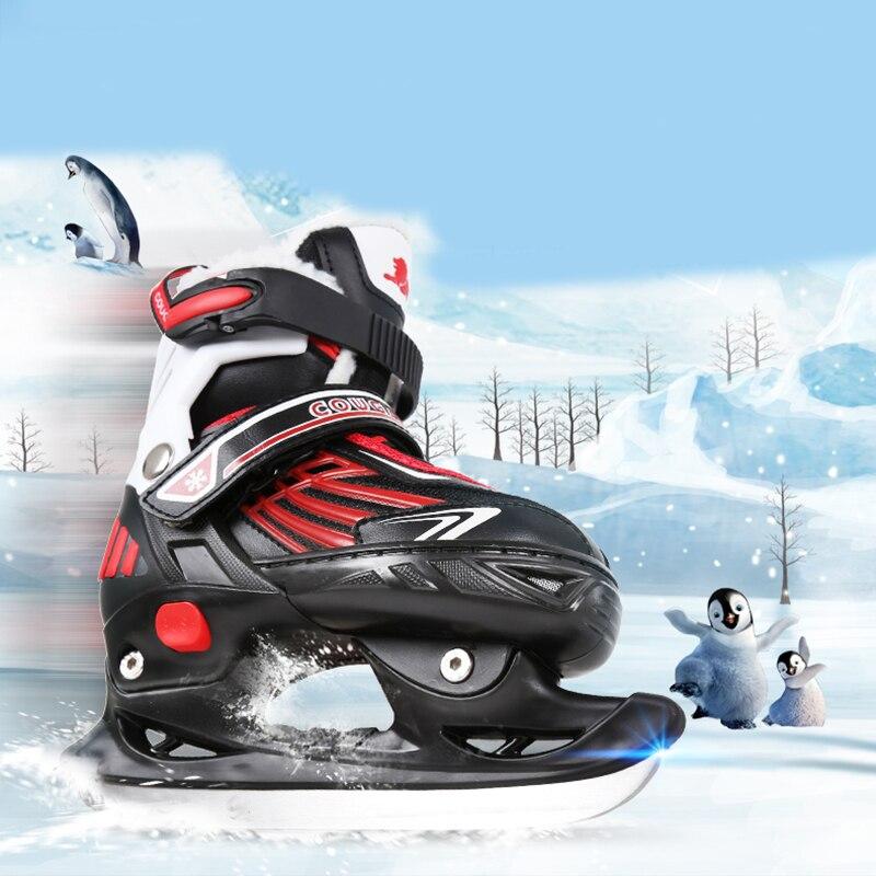 Velocidade da Lâmina de Gelo Patins de Gelo Adulto Mulheres Homens Inverno Hóquei no Gelo Patinação Sapatos Lâmina Quente Térmica 4 Tamanhos Ajustável Patins 1 Par