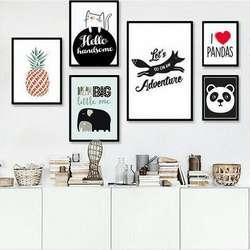 Новый стиль Северной Европе-Стиль хипстер, животные из мультфильмов, декоративная живопись детская комната Спальня вешается на стену Co