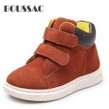 BOUSSAC Fashion High Children Shoes Boys Girls Genuine Leather Sneakers Student Baby Breathable Single Shoes Kids Flats цена в Москве и Питере