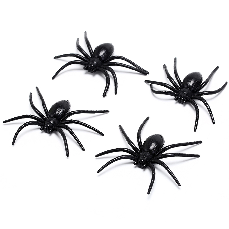 4Pcs/Lot Plastic Halloween Black Spider Funny Fake Spiders Toy Party Prop Haunted House Decor Children Novelty Toys