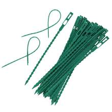 50Pcs Plastic Garden Plant Cable Ties Tree Climbing Support Garden Plant Pot Reusable Flower Plant Tie Adjustable Garden Tools(China)