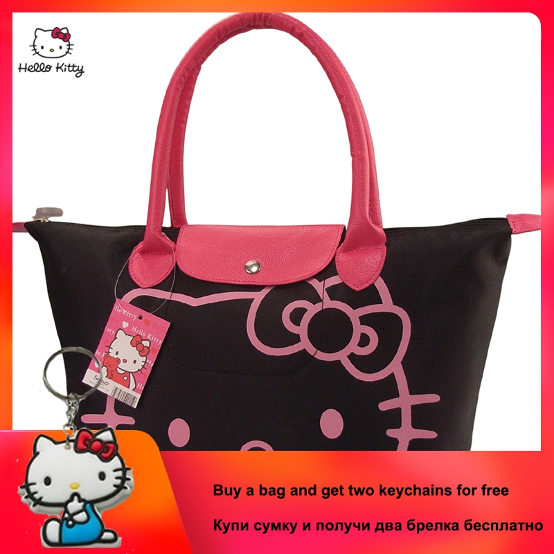 2019 New HELLO KITTY Fashion Portable Ladies Handbag Cute Cartoon Large Capacity Shoulder Canvas Bag Clutch Bag HK-213-