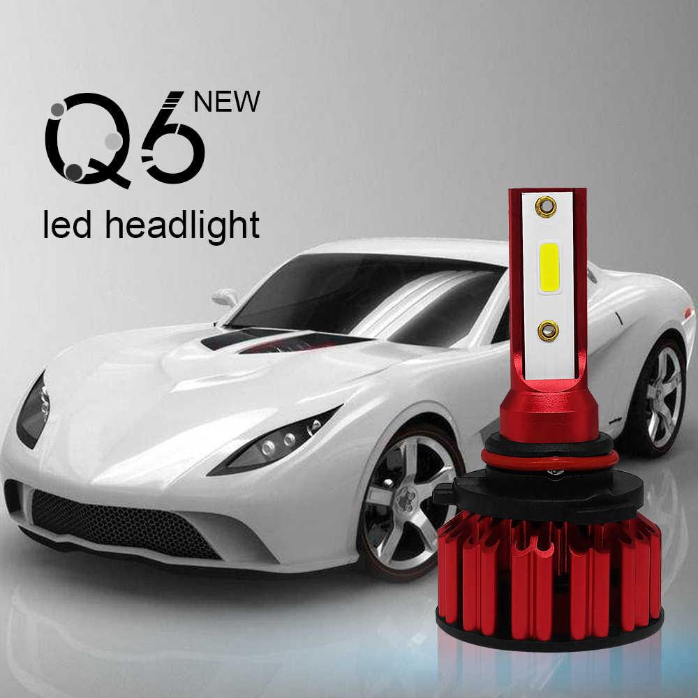 SUNYDEAL Q6 COB лампы 2X автомобильный головной светильник лампы Hi/Lo луч комплект H4 9005 9006 H7 авто светодиодный головной светильник аксессуары 6000K холодный белый