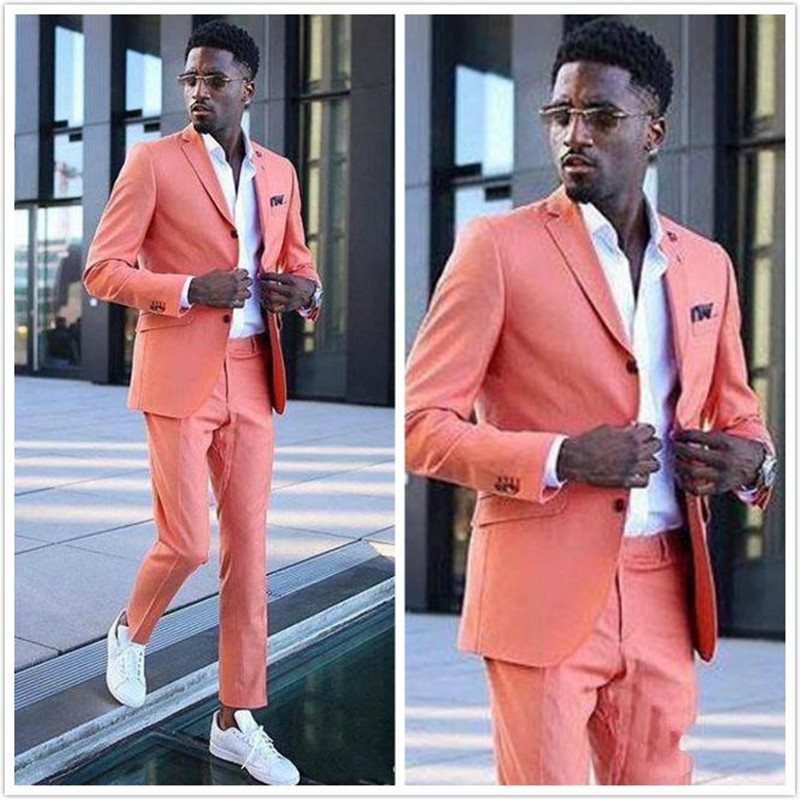 Coral Groom Wedding Tuxedos Men Groomsmen Suits Notached Lapel Slim Fit Two Button Prom Party Dinner Blazer Jacket (Jacket+Pants
