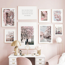 Pink Sakura Rose Fountain Phone Booth Bus Wall Art Canvas Painting Nordic Posters And Prints Wall Pictures For Living Room Decor