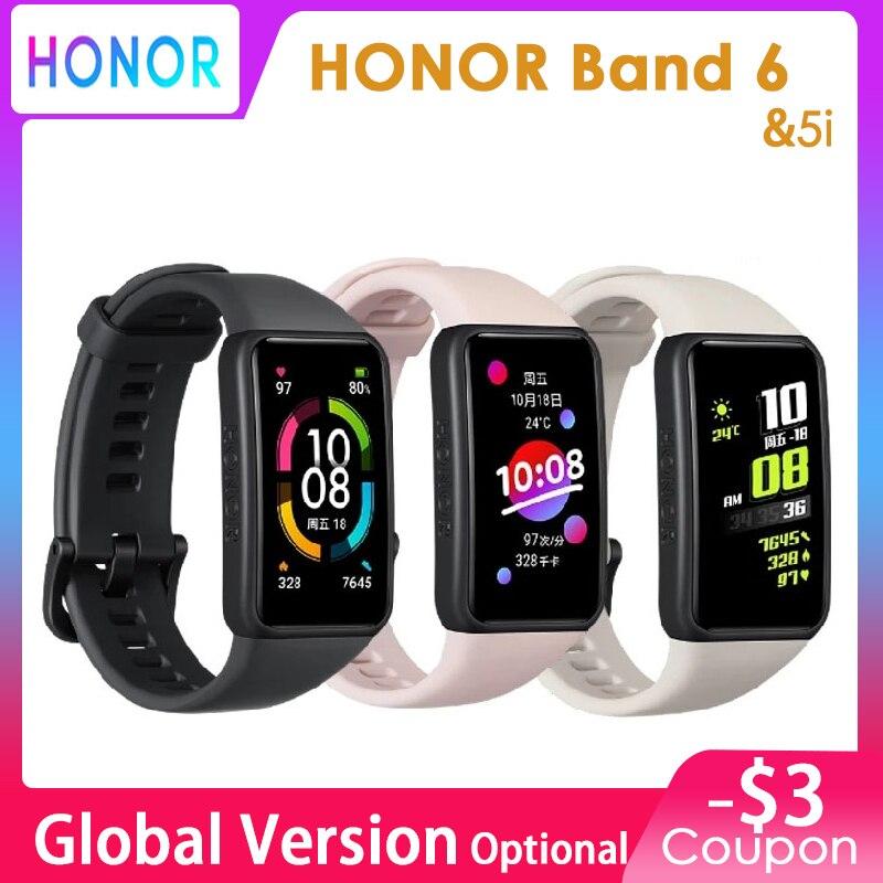 Оригинальный Смарт-браслет Honor Band 6, 5 спортивный цветной сенсорный экран AMOLED 1,47 дюйма, измерение кислорода в крови, пульсометр, сна, стресс