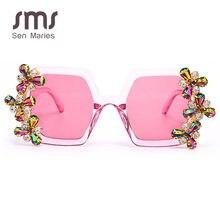 Fashion Diamond occhiali da sole donna 2020 occhiali da sole quadrati colorati Vintage occhiali da vista Gradient Luxury Punk Glasses UV400 Oculos