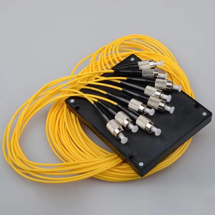 Free Shipping FTTH PLC ABS type FBT PLC optical fiber splitter FC/ UPC 1X8 PLC Singlemode Fiber Optical splitter
