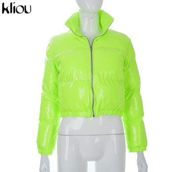 Kliou Crop Bubble Puffer Coat Winter Parkas Faux PU Leather Warm Long Sleeve Women Outerwear Zipper Casual Solid Slim Hot Jacket 7
