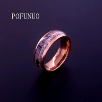 POFUNUO Brand Titanium Rose Gold Luxury for men women Wedding Dome Rings Men Jewelry Ring wholesale free shipping