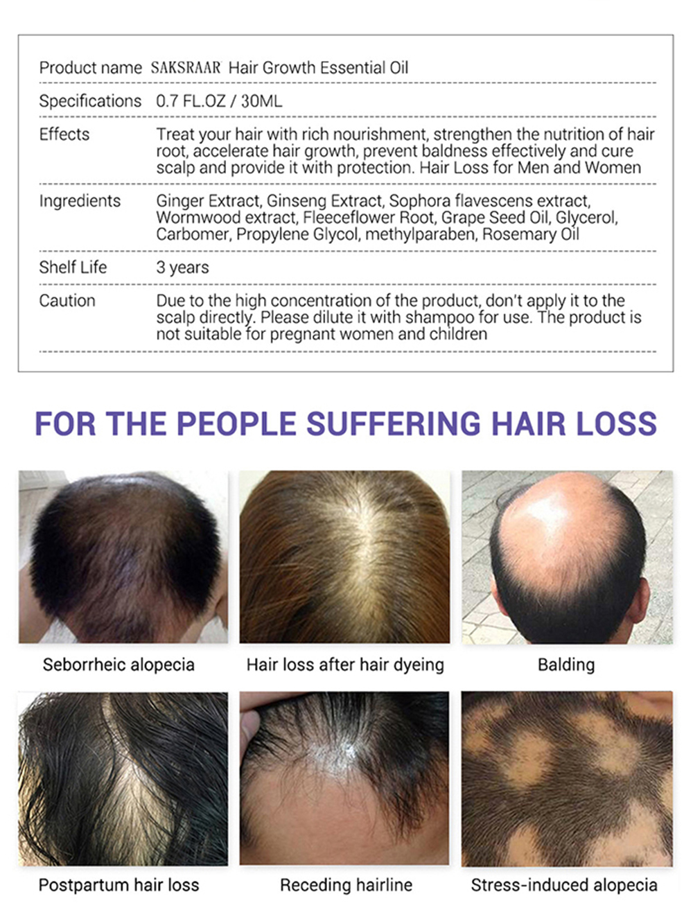 US $43.434 43% OFFHair Care Hair Growth Essential Oils Essence Grow Hair  Fluid Prevent Hair Loss Health Care Beauty Dense Hair Growth SerumHair  Loss