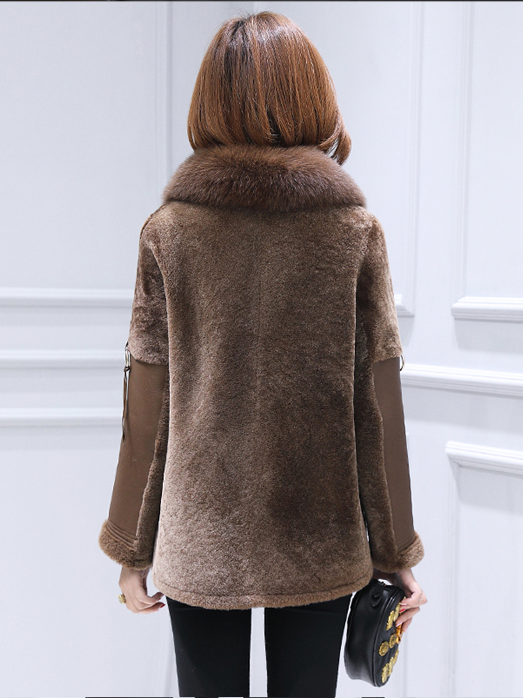 Double Luxury Faced Fur Coat Female Natural Sheep Shearling Fur Jackets Winter Jacket Women Genuine Leather Jacket MY