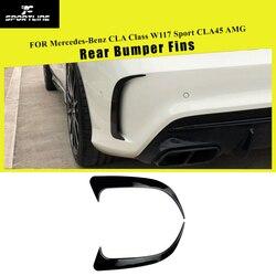 Dla mercedes benz CLA klasa W117 CLA200 CLA250 CLA45 AMG osłona otworu wentylacyjnego tylnego zderzaka 2013 2018 czarny błyszczący/węglowy wygląd|Zderzaki|Samochody i motocykle -