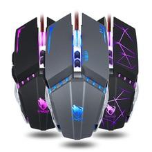 V7-Gaming-Mouse Thunder Wolf Mechanical Computer E-Sports Desktop Wrangler