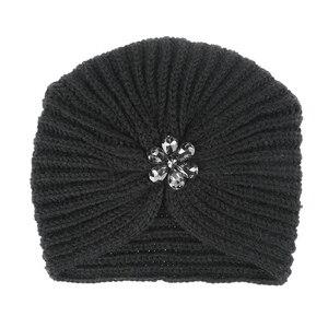 Image 5 - 1 pc di Modo Caldo di Inverno di Autunno Delle Ragazze Delle Donne di Stile Della Boemia lavorato a maglia Cap Accessori per Capelli Turbante Musulmano di Colore Solido cappello Copricapi