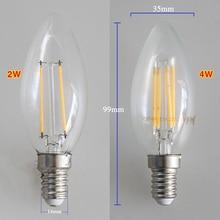LED NEW Filament Candle Light Bulb E14 220V 2W 4W Edison Bulb Retro Antique Vintage Style Cold White Warm White Lamp Wholesale