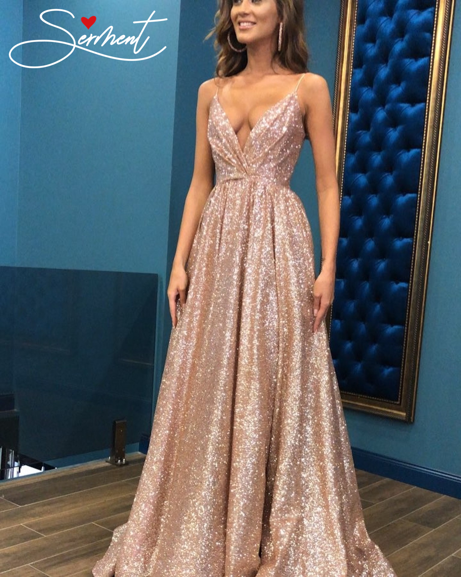 SERMENT Autumn New Women's Explosion Models Sexy Sling Deep V-neck Gold Evening Dress Dress Suitable For Formal Evening Clubs